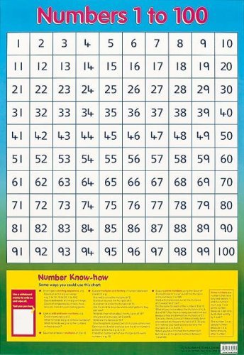 Numbers 1 to 100 (Wall Chart) by Schofield & Sims Ltd (September 1, 1998) Unbound
