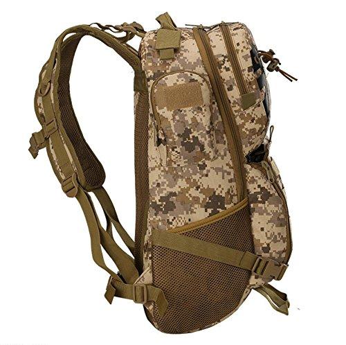 ZX&Q Bergsteigen Wandern Outdoor Sport Camping Camouflage Oxford Tactical Rucksack Wasserdicht Tragen Komfortable Tragen atmungsaktive 45L Big Rucksack D