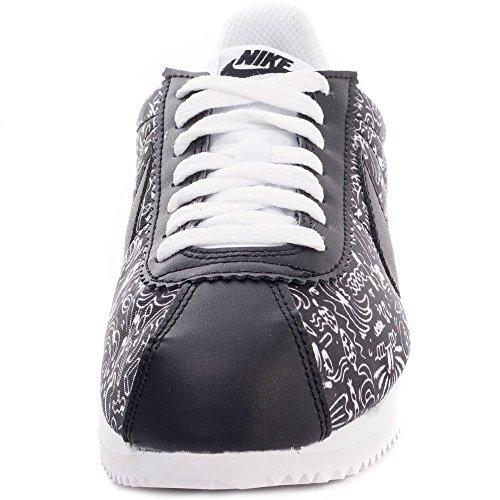 Nike Donna Wmns Classic Cortez Print scarpe sportive Nero / Nero-Bianco)