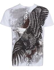 Sakkas Aigle Volant En relief argent métallique Manches courtes Col rond Coton T-Shirt Fashion homme