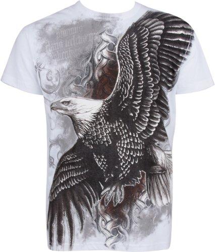 Sakkas fliegend Adler Metallic Silber geprägt Baumwolle Männer Mode T-Shirt - Weiß/XX-Large