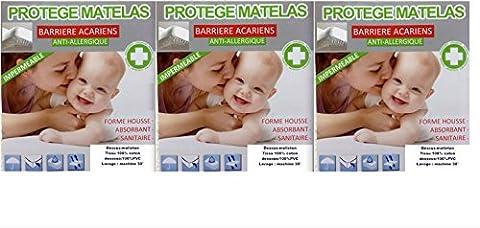 3 ALESES LIT BÉBÉ 60 X120 Imperméable PROTEGE MATELAS MOLLETON COTON +PVC UNI BLANC