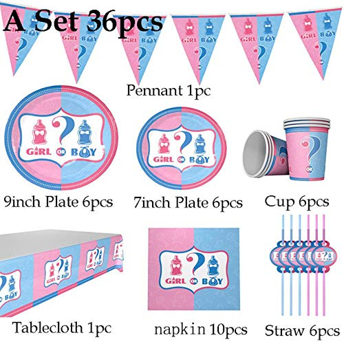 Generic Party Supplies 36pcs Pink Blue Disposable Tableware Girl or Boy Paper Plate Cups Hats Tablecloth Flag Straw Gender Reveal,a Set 36pcs (Party-girl Hats)