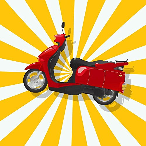 Square Board Scooter (PB Retro Shiny Red Scooter Peel & Stick Vinyl Wall Sticker 30 x 30inch)