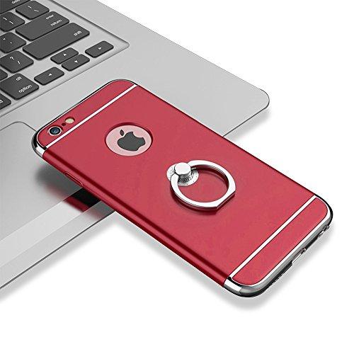 """xhorizon MSH 3 en 1 Coque pour iPhone 6 Plus/ iPhone 6S Plus [5.5""""]ultra-fin élégant Coque de Protection dur avec bague béquille 360 degré rotation avec 9H film de protection en verre trempé Rouge"""