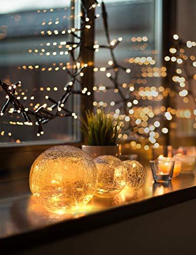 LED Glaskugel 3er Set - Exklusive Größe, Warmweiß, inkl. Timer und Kratzschutz - 10, 12 und 15cm LED Kugeln batteriebetrieben - Harmonische LED Leuchtkugeln als Weihnachtsdeko oder sonstige Dekoration
