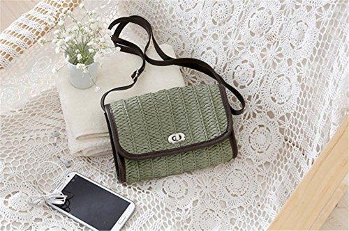 Clamshell Crossbody Handtasche Strohgewebte Tasche Frauen Mode Weave Einfache Strandtasche army green