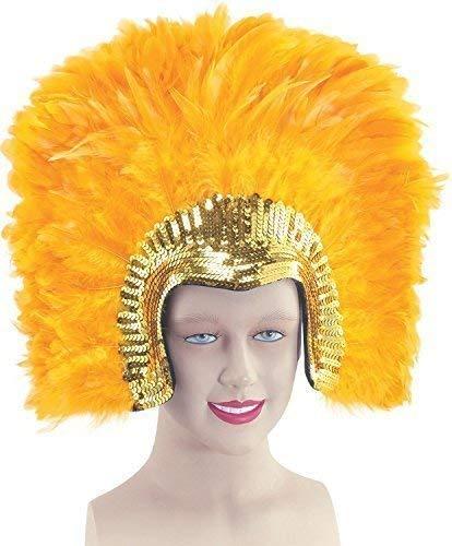 Fancy Me Damen 1920s Jahre Flapper Showgirl Transsexueller Vegas Kabarett Pailletten Groß Federkopfschmuck Kostüm Kleid Outfit Zubehör - Gold