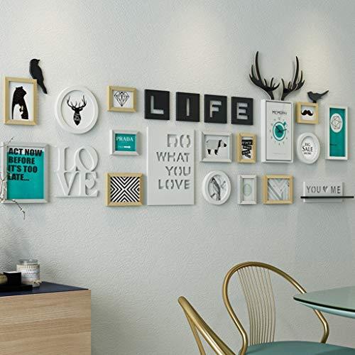 ZXL Centre Commercial Mural Home- Mordern Picture Frames Wall | Cadres Photo combinés Avec horloge | Pour le Salon du Couloir | Ensemble de 14 (Couleur: Couleur n ° 1) - 231 Coupe