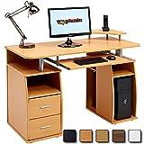 Piranha Großer Computer Schreibtisch mit 2 Schubladen und 4 Regalfächern PC 5b