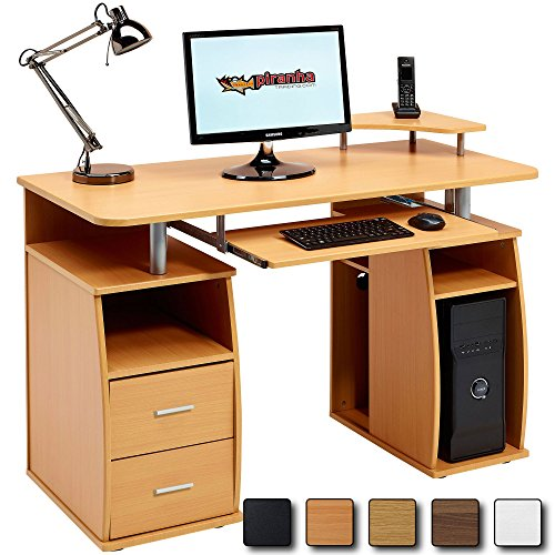 Computer Desk with Shelves, Cupboard and Drawers for Home Office in Beech Effect - Piranha Furniture Tetra PC 5b
