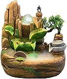 Knoijijuo Cucina Famiglia Soggiorno Fontana Resina Creativa Fontana per Interni Paesaggio Acquatico Fontana da Tavolo Ponte Alpino Acqua Corrente Lunga,38 * 25 * 46cm