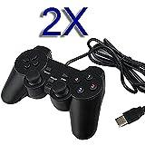 Sqdeal Lot de 2USB Gamepad Joypad double Dual Shock Manette de jeu Joystick pour PC Ordinateur Portable Windows [Jeu vidéo]