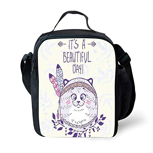 ZKHTO School Supplies Cat,Stylish Native American Indian Hippie Cat with Ethnic Tribal Feathers Artsy Cartoon,Purple Cream for Girls or Boys Washable Freezable Ice Pack