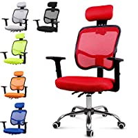 EUCO Desk Chair,Red Executive Mesh Chair For Office High Back Computer Chair Ergonomic Swivel Chair with Adjustable
