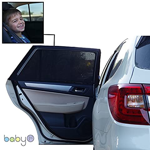 Car Window Sun Shade By Baby 1st: 2 Car Rear Side Sun Blocks – UV Protection For Babies, Kids & Pets – Quality Breathable Coverage Against Heat – Compatible With All Vehicles – Bonus Gift A Fun