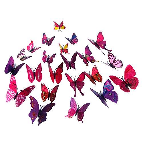 Pingxia 12 Pezzi 3D Farfalle Adesivi Murali DIY Arte Adesivi da Parete Artigianato Decorazione Domestica - Rose rosse