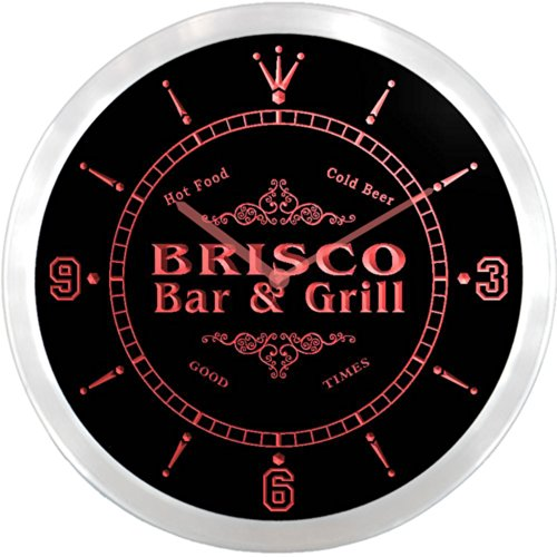 ncu05485-r-brisco-family-name-bar-grill-cold-beer-neon-sign-led-wall-clock