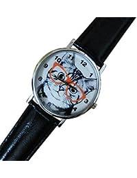 Reloj de mujer con gato y gafas, Idea regalo correa blanco rosa negro