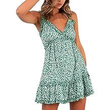 wave166 Vestido,Mujer Vestido Corto de Fiesta Elegante Imprimir Estrella Mini Vestidos Playa Manga Vestido