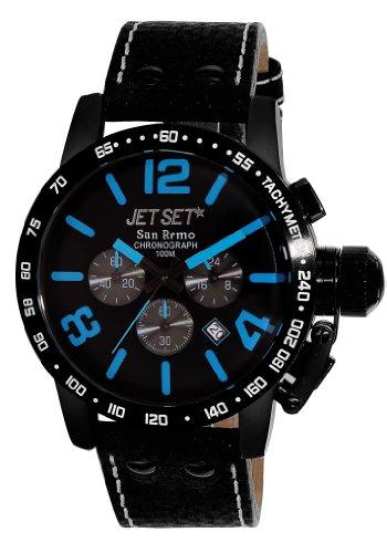 Jet Set Herren Chronograph Quarz Uhr mit Leder Armband J8358B-337