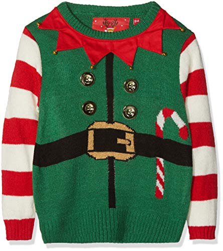 The Christmas Workshop Boy's Kids Christmas 3D Jumper-Elf Suit Green, 7-8 Years