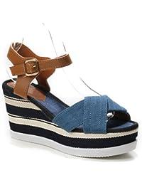 MISSY ROCKZ Bequeme Sneaker High Heels Damenschuhe Welcome on Board Blau/Weiszlig; mit 105 cm Absatz Pin up Pumps...