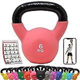 POWRX Kettlebell néoprène 2-26 kg INCL. Affiche dŽEntrainement I Haltère Boule de différentes Couleurs et Poids I Haltère léger (6 kg (Pink))