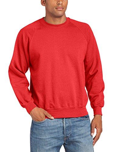 Fruit of the Loom Raglan Sweatshirt - Felpa a manica lunga da uomo, rosso (red), L