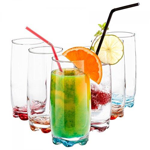 (Van Well 6er Set Longdrink-Gläser Fashion Line 370 ml | Party-Glas mit farbigem Boden | Trinkgläser für Wasser, Saft & Schorle)