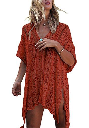 Strandkleid Damen Kurze Kleid Badeanzug Bikini Spitze Crochet Cover Up (Karamell, M) (Damen Crochet)