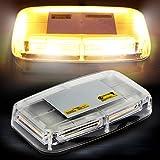 AMBOTHER Lampe Stroboscopique 6-COB LED Clignotant Magnétique Auto Plafonnier Véhicule Ultra-brillant Lumière Ambre pour Eclairage Extérieur Avertissement Urgence de Voiture avec Ventouse 18 W