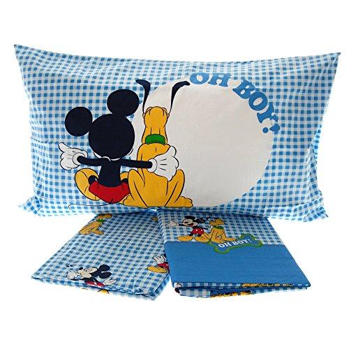 Lenzuola Disney Caleffi Topolino Mickey e Pluto Completo Letto Singolo 100% Puro Cotone