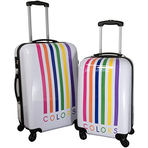 Reise Kofferset mit Rollen 2 teilig leicht mit verschiedenen Motiven - Polycarbonat Reisekoffer Trolley-Set (Mailand Weiß)