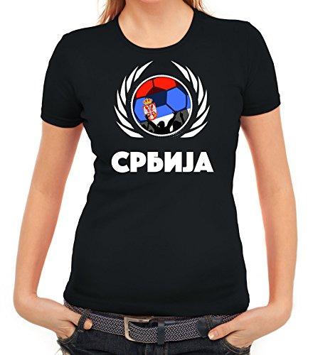 ShirtStreet Serbia Wappen Soccer Fussball WM Fanfest Gruppen Fan Wappen Damen T-Shirt Fußball Serbien Schwarz