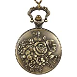 Orologi da tasca NICERIO Orologio collana bronzo fiori stile vintage antico