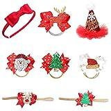 Weihnachten Kinder Stirnband,Tumao 8 Stück Weihnachten Kleinkind Baby Kinder Mädchen Haarnadeln Weihnachtsfeier Haarspangen für Kinder Weihnachten Kostüm Party