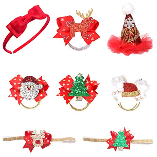 (Weihnachten Kinder Stirnband,Tumao 8 Stück Weihnachten Kleinkind Baby Kinder Mädchen Haarnadeln Weihnachtsfeier Haarspangen für Kinder Weihnachten Kostüm Party)