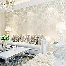 Auralum® 10m Continental Romántico Jardín del 3D Papel Pintado Floral No-tejido Papel para Pared del Dormitorio / TV / Sala de estar, Beige