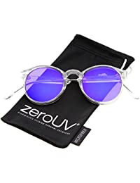 4f543a47b2 zeroUV - Clear Frame Metal Temple Color Mirror Flat Lens P3 Round Sunglasses  49mm (Clear