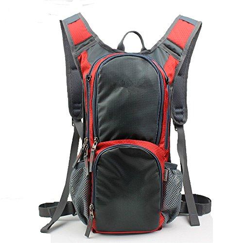 Outdoor-RucksackBergsteigenTascheWandernRucksackMänner&FrauenMagnesiumfeinblechBelüftungReisenkleineUmhängetasche(15L), schwarz red