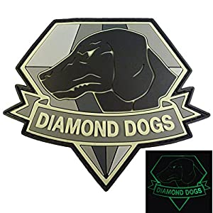 Diamond Dogs Metal Gear Solid Glow Dark Big Boss Snake PVC Gomme 3D Velcro Écusson Patch