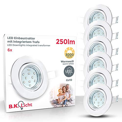 LED Einbaustrahler schwenkbar inkl. 6 x 3W Leuchtmittel GU10 IP23 warmweiss Einbauleuchte rund weiss