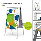 Hochwertiger Plakatständer DIN A1 |  Kundenstopper |  Werbetafel |  Gehwegaufsteller Select (mit Alu-Klemmrahmen) von Vispronet