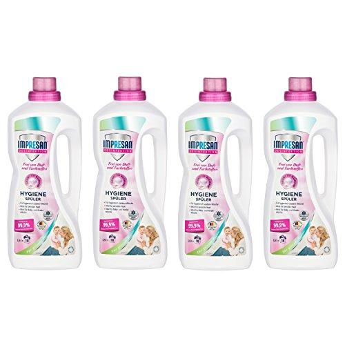 Impresan Hygiene-Spüler Sensitiv - 4 x 1,5L - Frei von Duft- und Farbstoffen - Wäsche-Desinfektion - ohne Duftstoffe - Parfümfrei - für empfindliche Haut - 4 x 18 Waschladungen