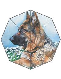 Flipped Summer Paraguas de Pintura de Verano con Diseño de Pastor Alemán