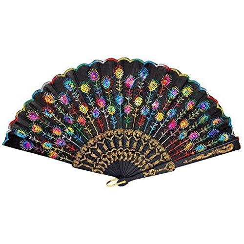 Hosaire 1x Retro Shiny Folding Fan Damen Faltbare Hand Fan Gedruckt Stoff Fan für Sommer Tanz Hochzeit Wanddekoration Bunt