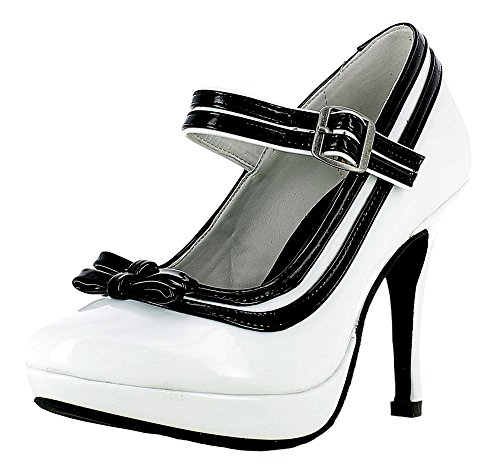 Mary Jane Damen Pumps Lack Schuhe - Weiß Schwarz Gr. 40