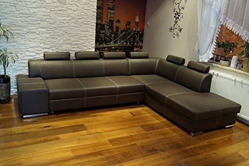 """Echtleder Ecksofa \""""LONDON II 6z\"""" 300 x 220 Sofa Couch mit Schlaffunktion , Bettkasten und Kopfstützen Echt Leder mit Ziernaht Eck Couch große Farbauswahl"""