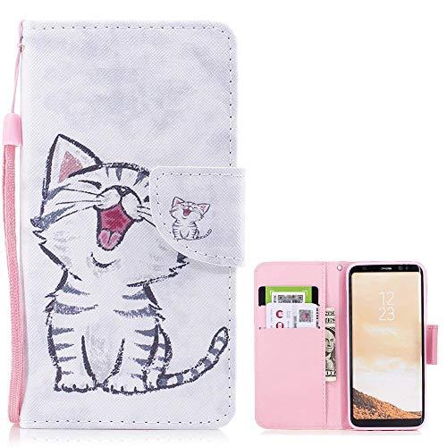 LCHULLE Cute Wallet Case for Redmi 6A, Premium Full Body Colorful Pattern Design Flip Magnetic PU Leather Wallet Case Cover [Folio Stand Feature] with Hand Strap White Cat Christmas Free Cell